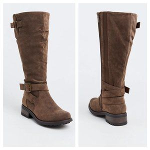 Brown Oiled Faux Leather Knee-High Boot
